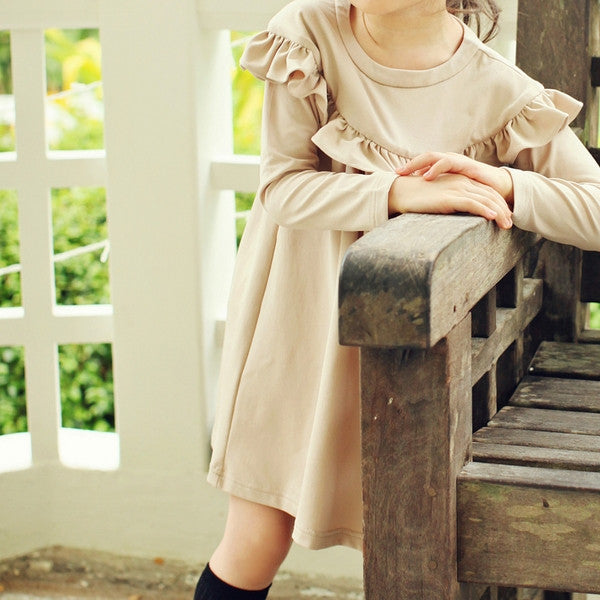 Philia Ruffle Dress, little girl ruffle long sleeve dress in beige
