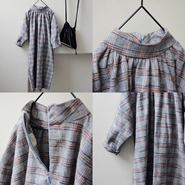 Ray Plaid Dress, little girls oversized dress in grey