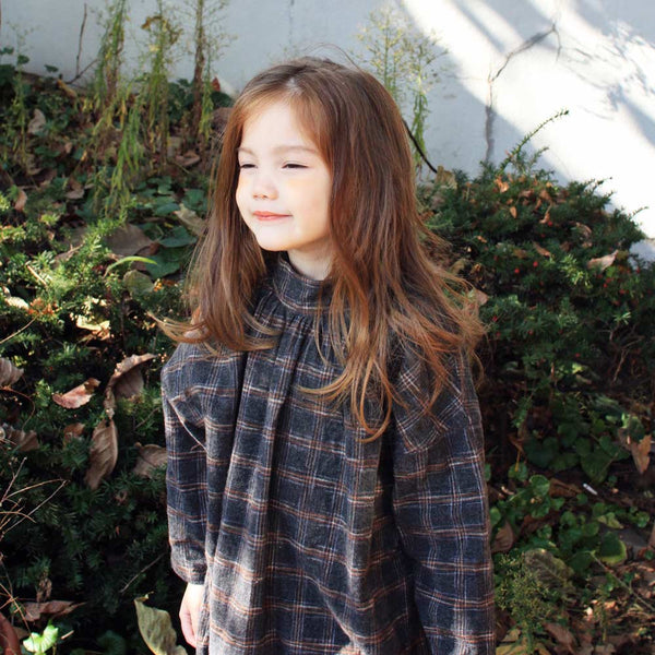 Ray Plaid Dress, little girls oversized dress in charcoal