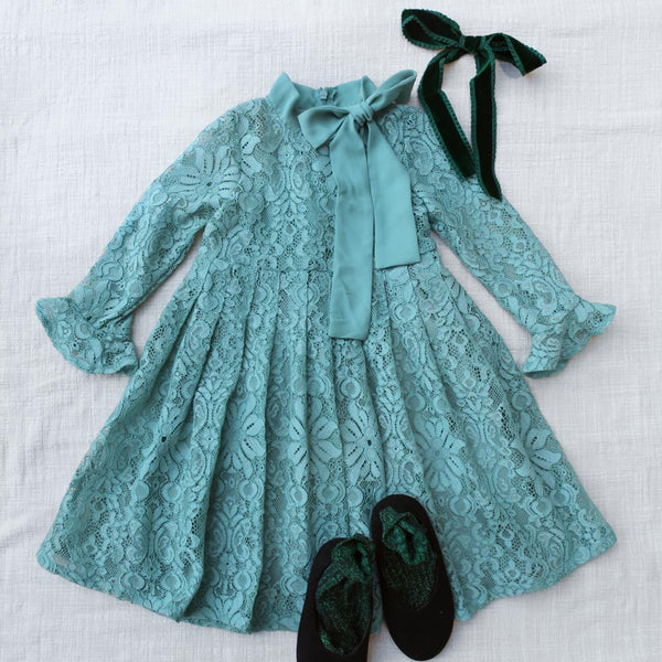 Rebecca Lace Dress in mint, girl long sleeve dress