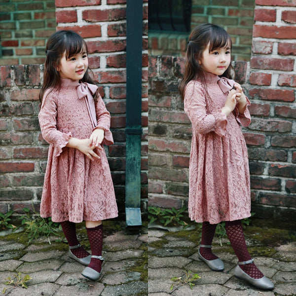 Rebecca Lace Dress in pink, girl long sleeve dress