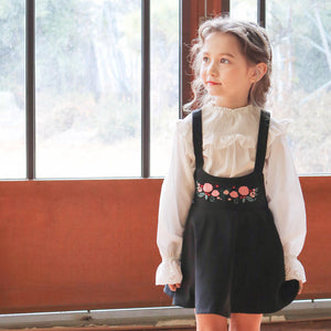 Reed Suspender Skirt, little girls floral casual dress in black