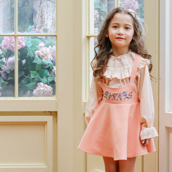 Reed Suspender Skirt, little girls floral casual dress in pink