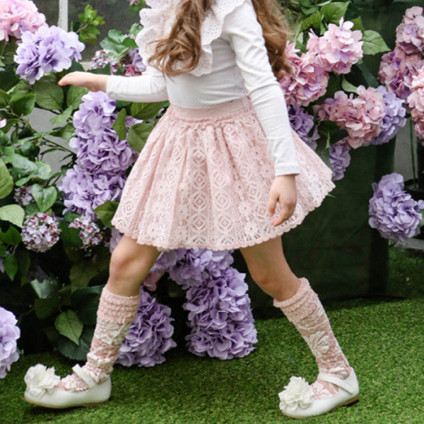 Riber Knee-High Socks, little girls knee high socks in pink