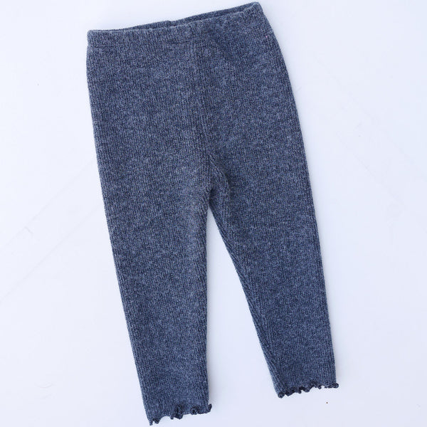 Winter Robin Wool Knitted Leggings for little girls