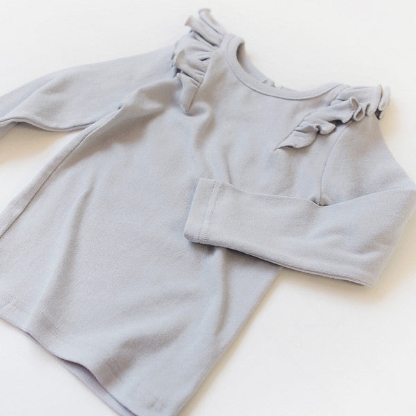 Roemo Ruffle Top, little girl ruffle top in grey