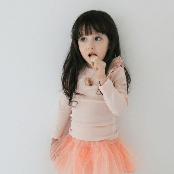 Roemo Ruffle Top, little girl ruffle top in peach pink