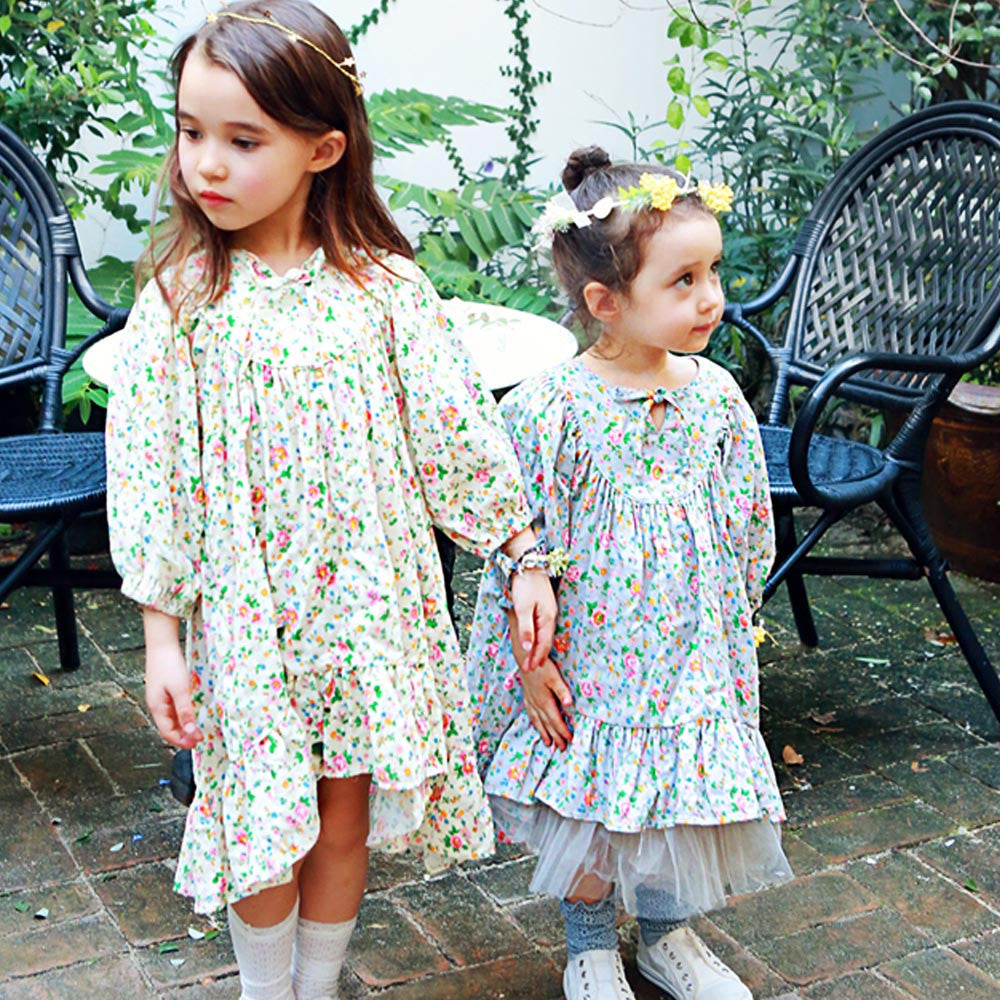 Rosie Floral Long Sleeve Dress for little girls, pretty floral pattern