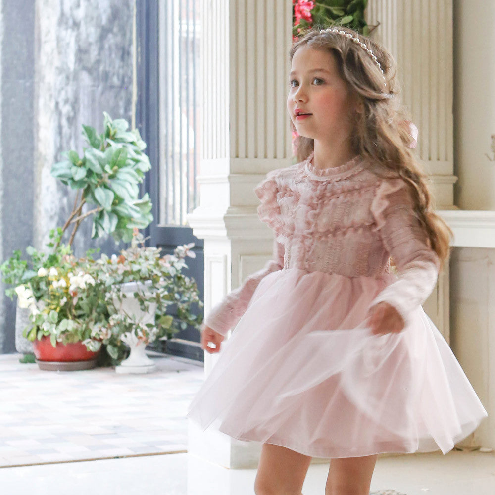 Rowan Tulle Dress, little girls long sleeve lace dress in pink