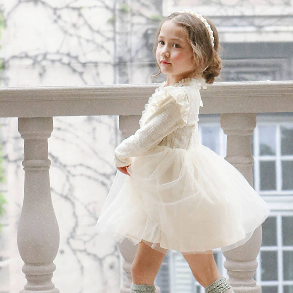 Rowan Tulle Dress, little girls long sleeve lace dress in ivory