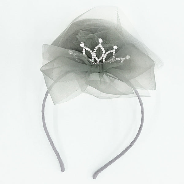 Royal Chiffon Headband with a crown in the center for little girls