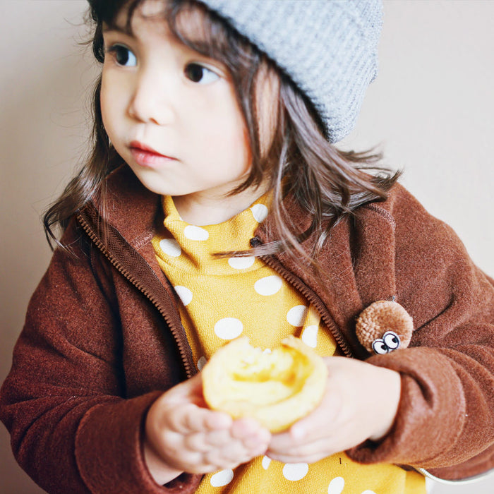 Santos Fleece Jacket for little girls in brown