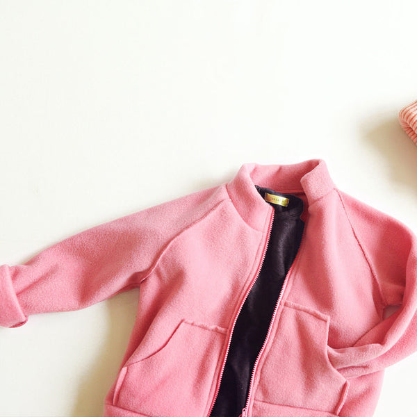 Santos Fleece Jacket for little girls in pink