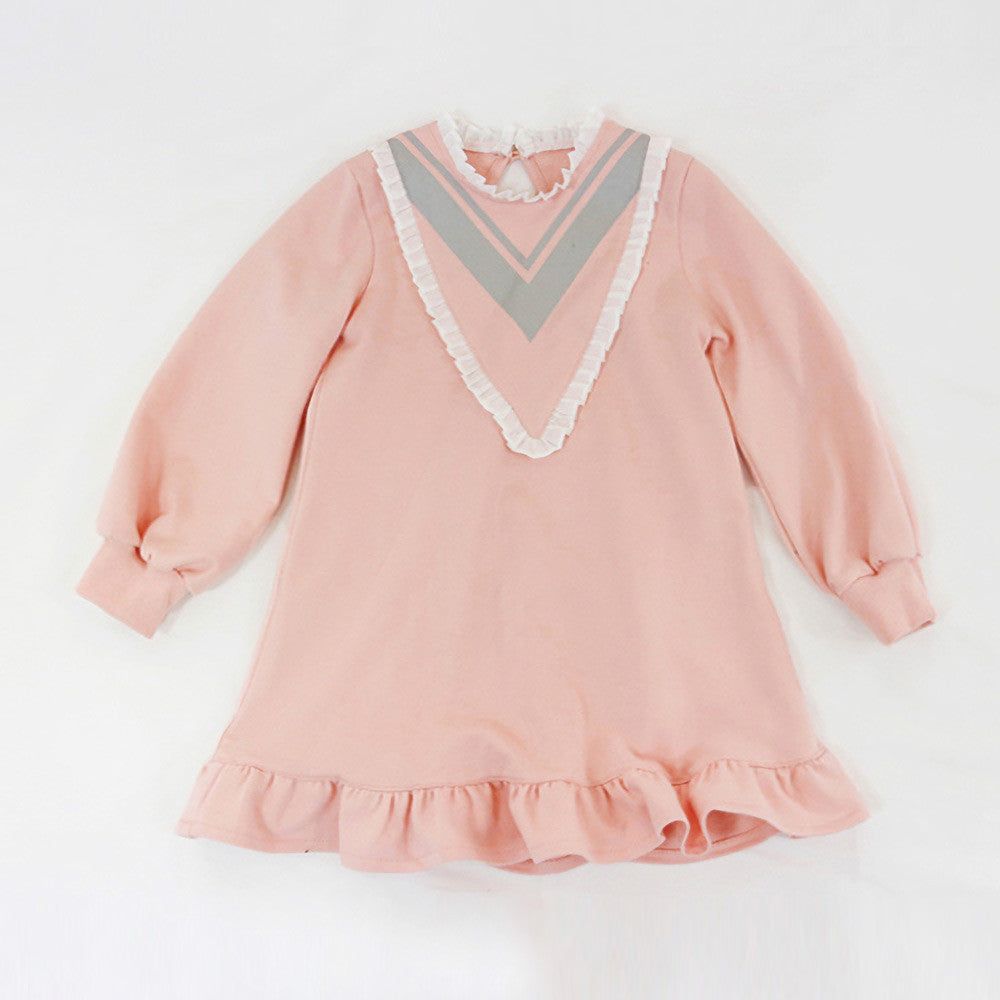 Skyler Ruffle Dress, little girls preppy school girl dress in pink