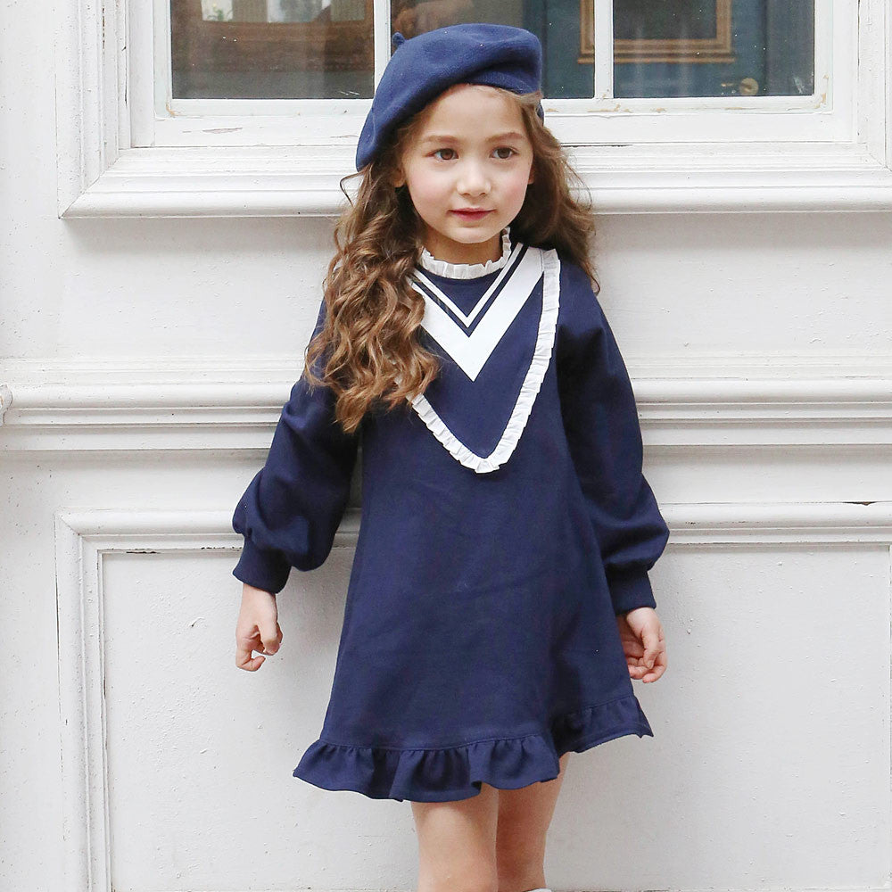 Skyler Ruffle Dress, little girls preppy school girl dress in navy