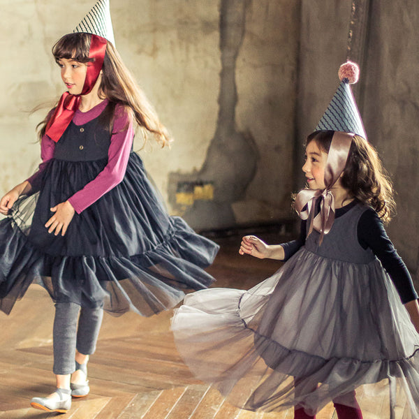 Sofia Tulle dress for little girls in black and grey