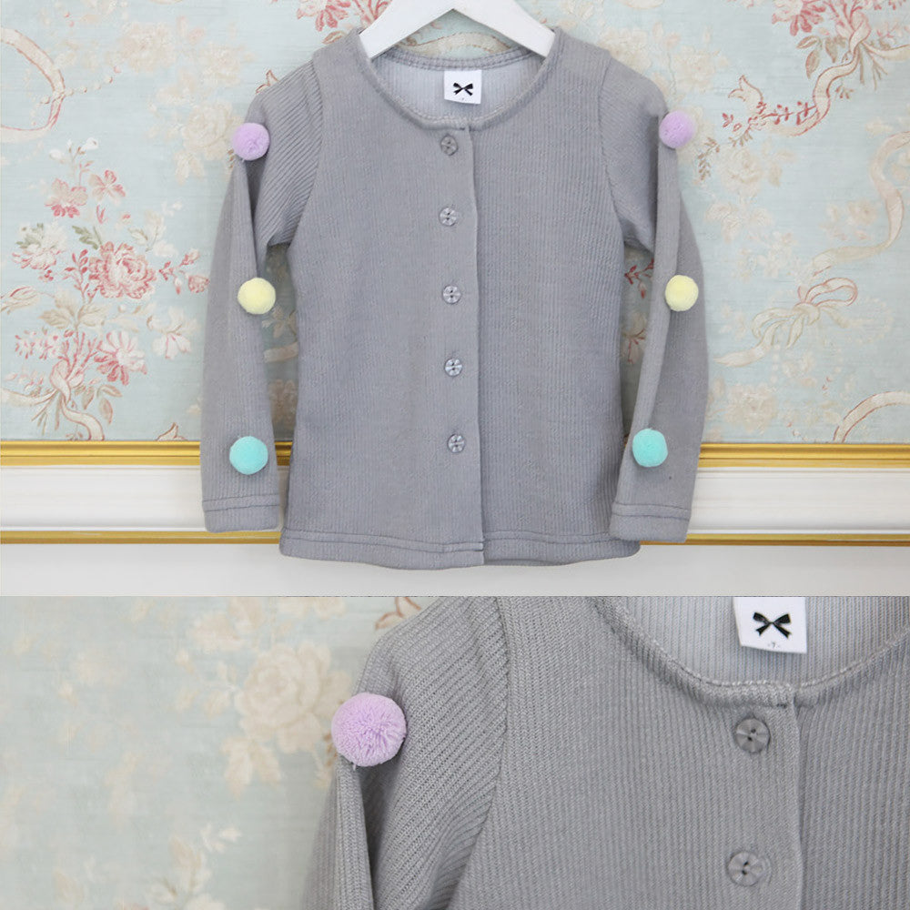 Sooz Pom Pom Cardigan, little girls long sleeve button cardigan in grey