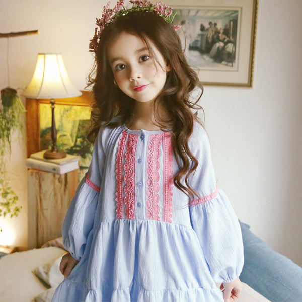 Sydney Ruffle Dress, little girls ruffle dress with lace in blue