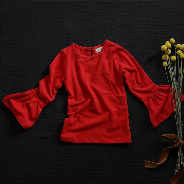 Tuscan Bell Sleeve Top, little girls long sleeve top in red
