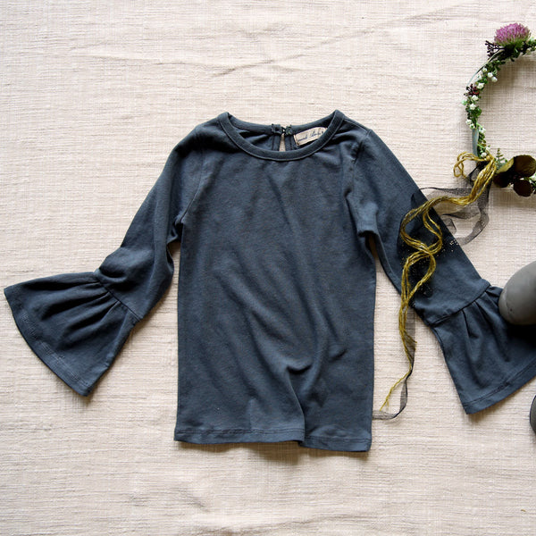 Tuscan Bell Sleeve Top, little girls long sleeve top in grey