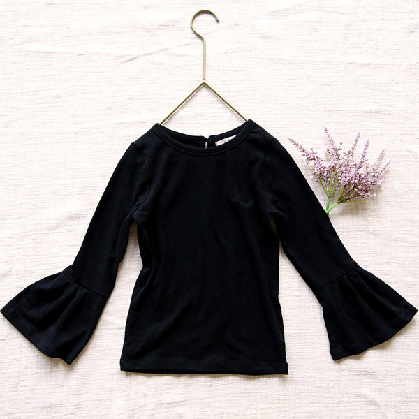 Tuscan Bell Sleeve Top, little girls long sleeve top in black