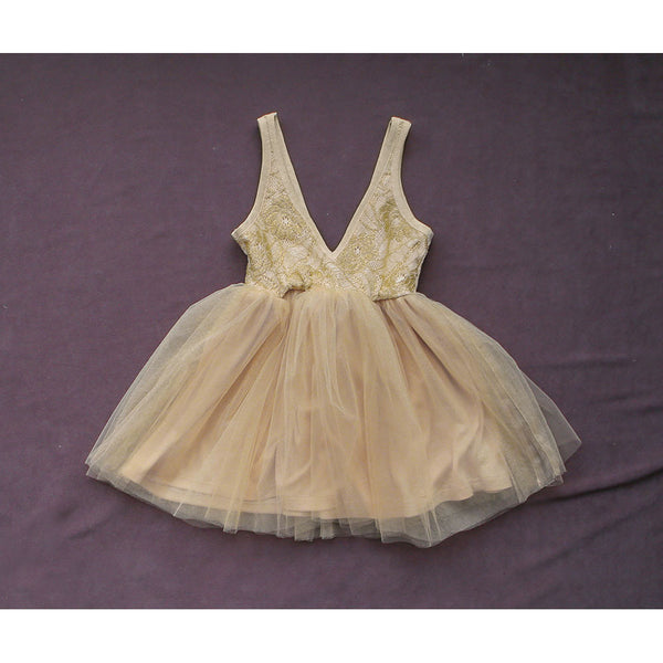 Scarlet Tulle dress for little girls in beige