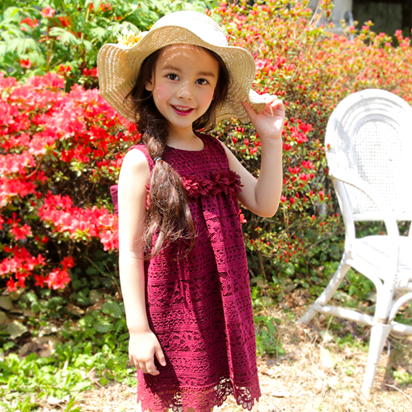 Shelly Lace Dress [BURGUNDY / 6-7 YRS]