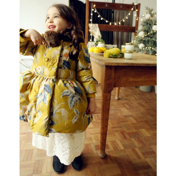Agatha Flower Print Padded Coat [6-7 YEARS]