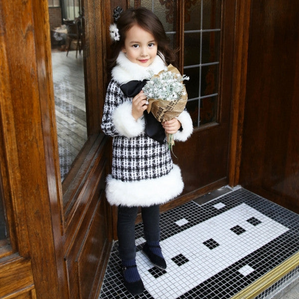 Keira Tweed Dress with Detachable Faux Fur Collar [4-5 YEARS]