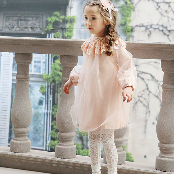 Valen Floral Lace Tights, little girls lace floral tights in ivory