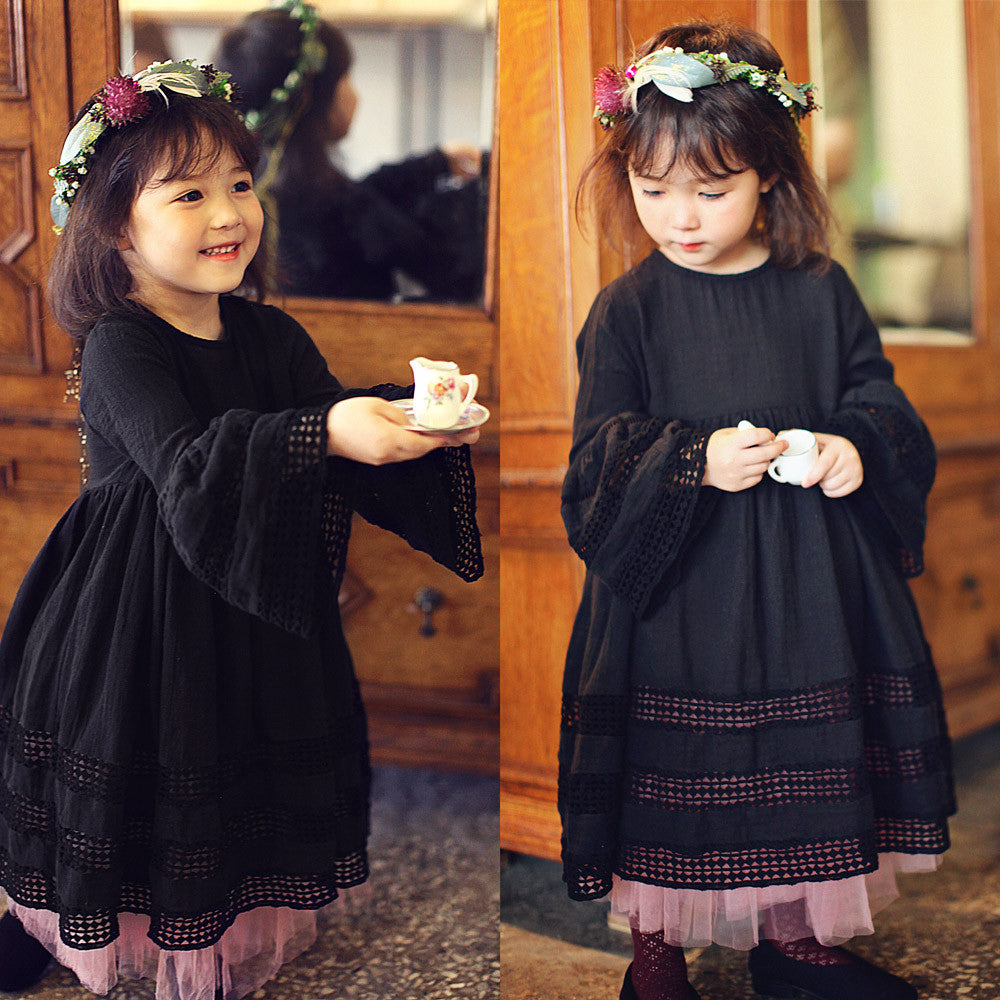 Venice crochet maxi dress for little girls in black