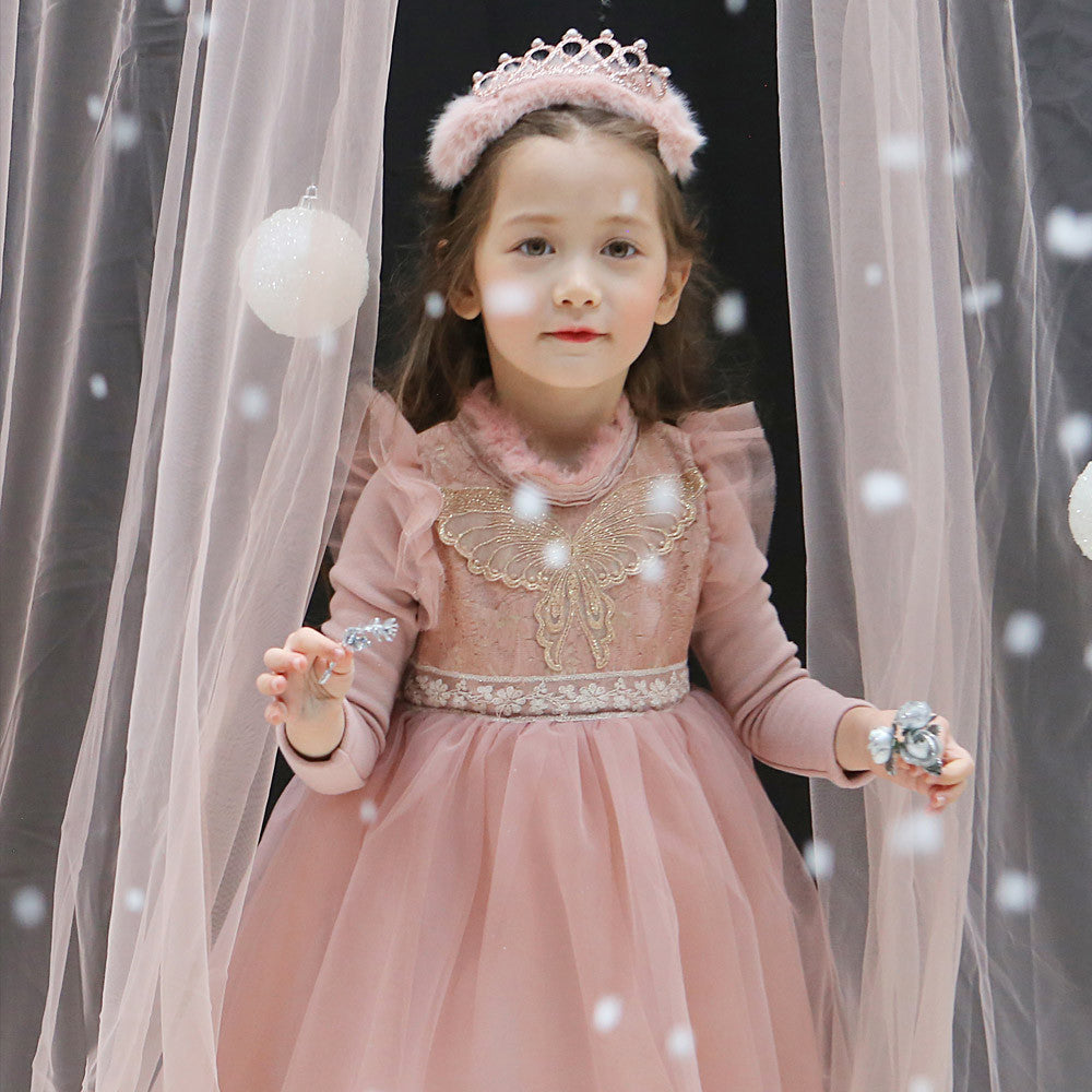Victoria Tulle Dress, little girls holiday long sleeve dress in pink