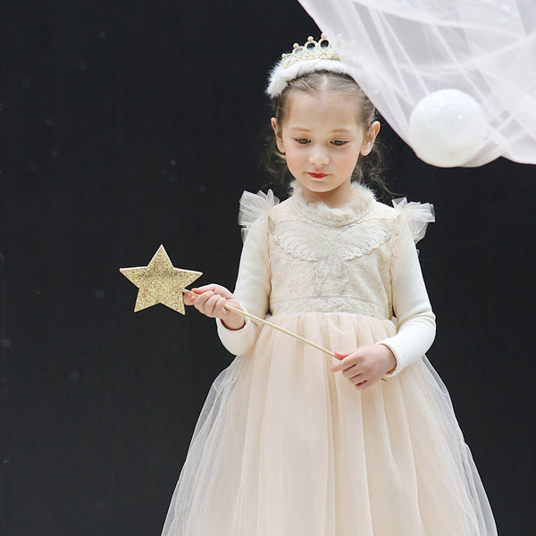 Victoria Tulle Dress, little girls holiday long sleeve dress in beige