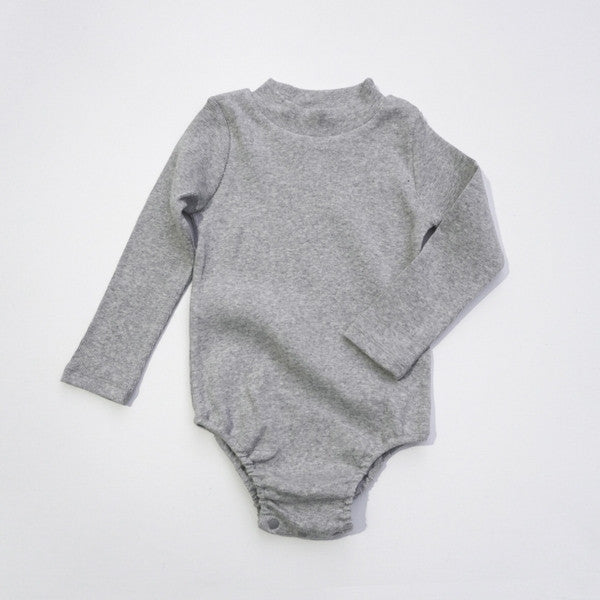 Wesley Body Suit, little girl long sleeve body suit in grey