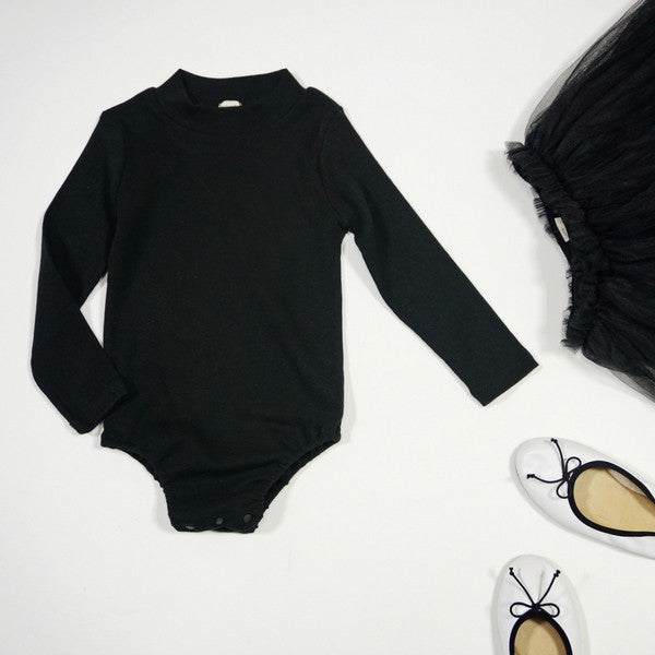 Wesley Body Suit, little girl long sleeve body suit in black