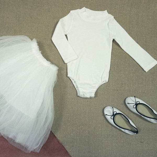 Wesley Body Suit, little girl long sleeve body suit in white