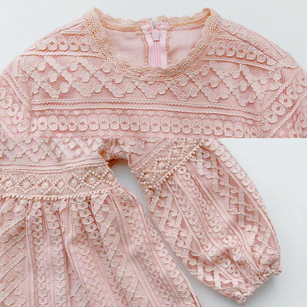 Whitney Lace Dress in pink, girl long sleeve dress
