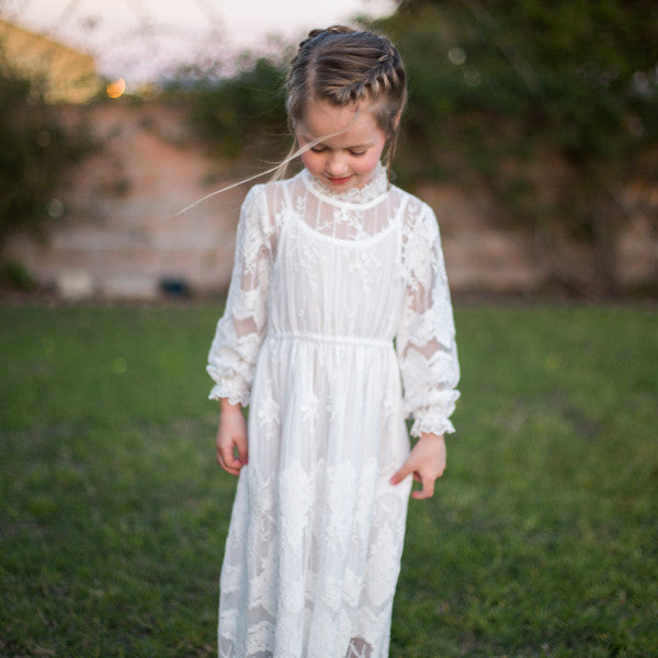 Jessie Lace Dress, little girls lace crochet dress in ivory by abellasbraids