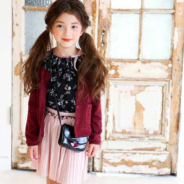 Roselyn Floral blouse for little girls in black