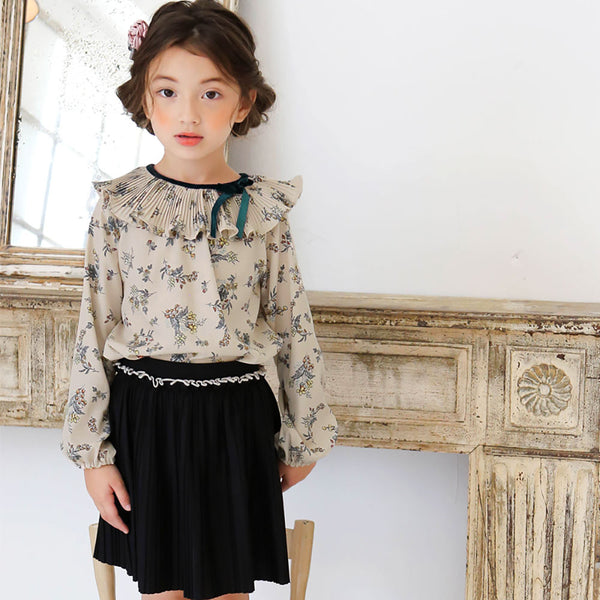 Roselyn Floral blouse for little girls in beige