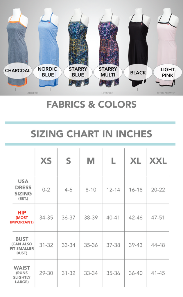 The Undress Version 2 SPORT Color and Sizing Chart