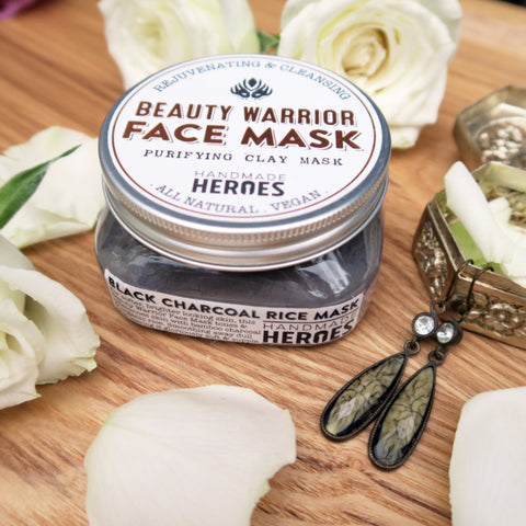 Beauty Warrior Face Mask (Black Charcoal Rice) - All Natural, Vegan Skincare