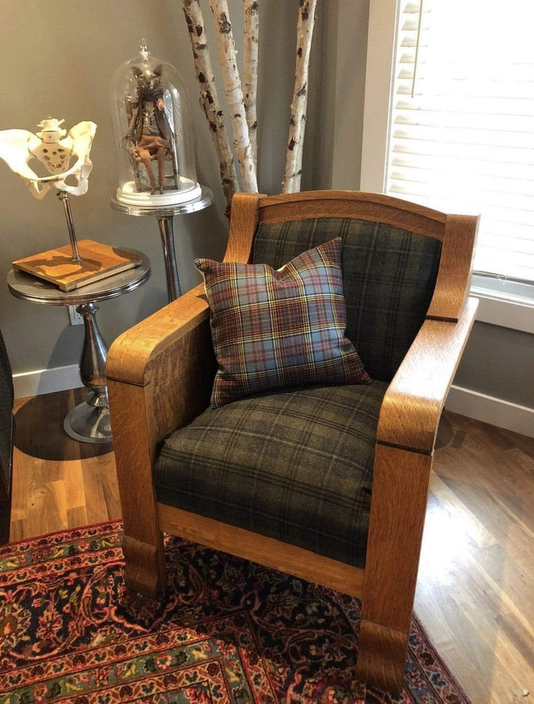 Two Silver Cats Furniture Two Silver Cats | Vintage Upholstered Tartan Screen Accurate Club Chair