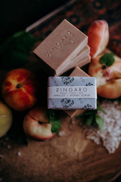 Zingaro Bar Soap Apricot & Honey Scrub Goats Milk Soap