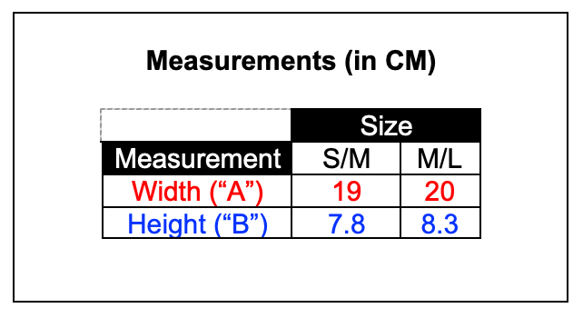 Sampan boat-shaped mask measurements table