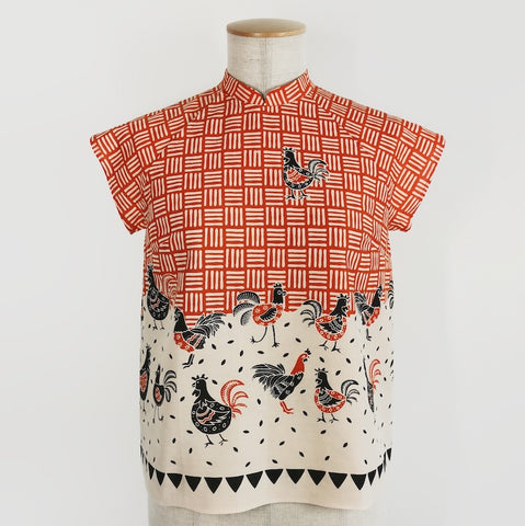 Amah w Collar Blouse Batik Chicken - Orange