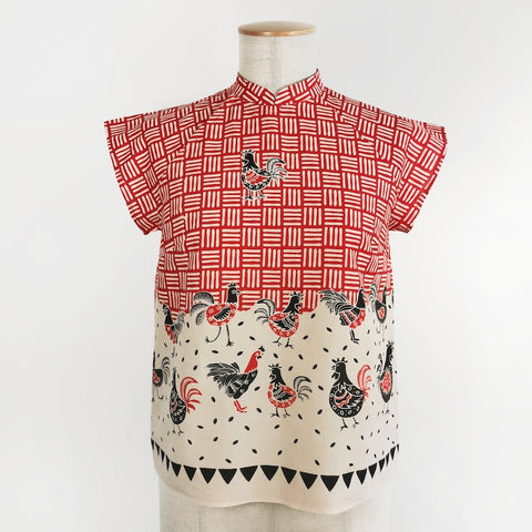 Amah w Collar Blouse Batik Chicken - Red