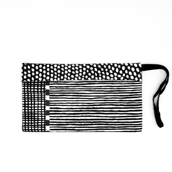 Black Patchwork Pouch for Masks