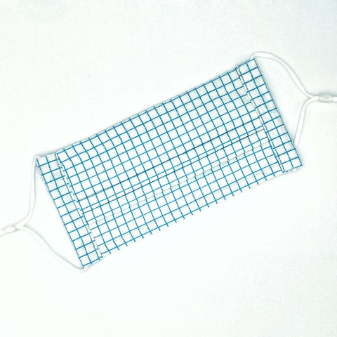 Graph Paper Blue Pleated v2 Mask