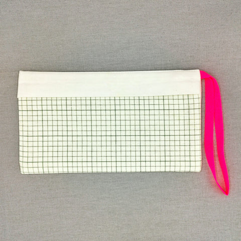 Graph Paper Green Pouch for Masks